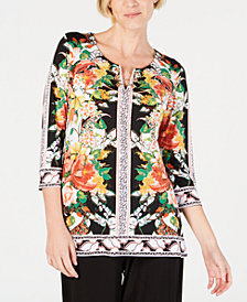 JM Collection Petite Grommet-Toggle Printed Tunic, Created for Macy's