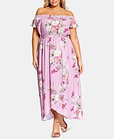 City Chic Trendy Plus Size Pink Floral Maxi Dress