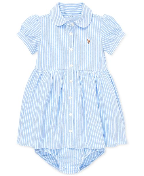 bf83a97f486 Polo Ralph Lauren Baby Girls Striped Knit Oxford Dress & Reviews ...
