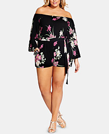 City Chic Trendy Plus Size Off-The-Shoulder Romper