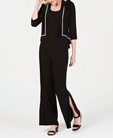 MSK Rhinestone-Trim Jacket, Top, Wide-Leg Pants & Slit Maxi Skirt