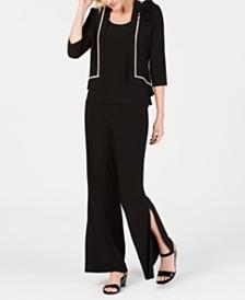 MSK Rhinestone-Trim Jacket, Top, Wide-Leg Pants & Slit Maxi Skirt