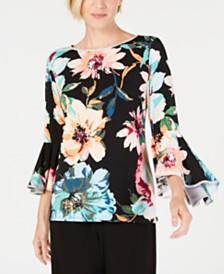 MSK Rhinestone Floral Bell-Sleeve Blouse