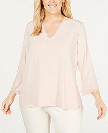 Calvin Klein Plus Size Ruffle-Sleeve Top