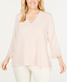 9c192ade580 Calvin Klein Plus Size Ruffle-Sleeve Top