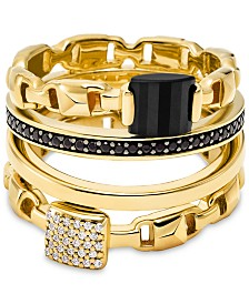 Michael Kors Gold-Tone Sterling Silver 4-Pc. Set Crystal & Black Stone Stack Rings