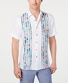 Men's Pieced Paisley-Stripe Linen Shirt, Created for Macy's