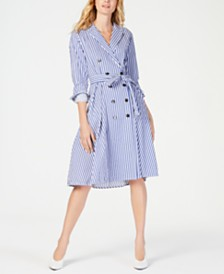 Marella Striped Tie-Waist Trench Dress