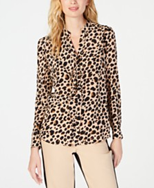 Marella Flounce-Trim Silk Animal-Print Blouse