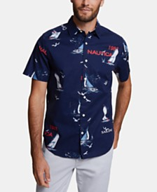 Nautica Men's Blue Sail Classic-Fit Performance Stretch Printed Shirt, Created for Macy's