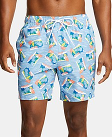 "Nautica Men's Blue Sail Quick-Dry Camouflage 6"" Swim Trunks"