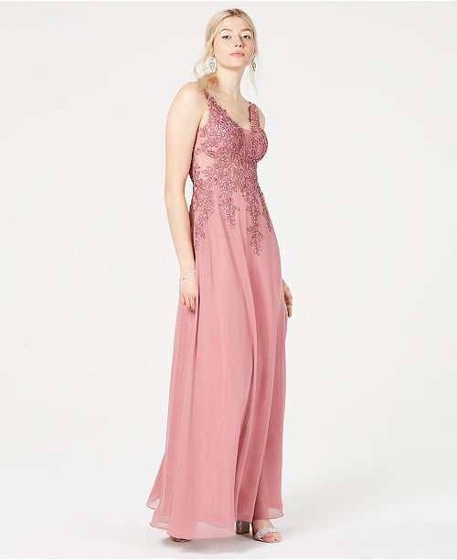1cf1cc8ff ... Blondie Nites Juniors' Chiffon Embroidered Gown, Created for Macy's ...