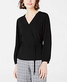 Bar III Faux-Wrap Top, Created for Macy's