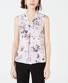 Bar III Printed Inverted-Pleat Blouse, Created for Macy's