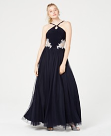Blondie Nites Juniors' Keyhole Appliqué Gown