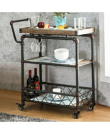 Industrial Wine Cabinet with Foldable Table