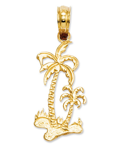 14k Gold Charm, Palm Trees Charm