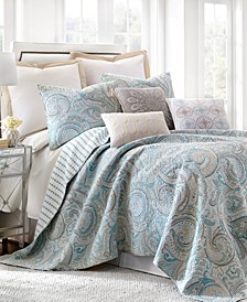 Spruce Aqua Paisley Reversible King Quilt Set