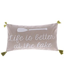 Home Life is Better Lake with Tassels Pillow