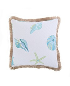 Home Del Ray Quilted Shell Burlap fringe Pillow
