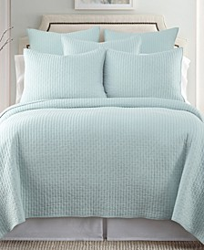 Home Cross Stitch Blue Haze King Quilt Set