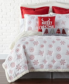 Home Red Snowflake Sherpa King Quilt Set