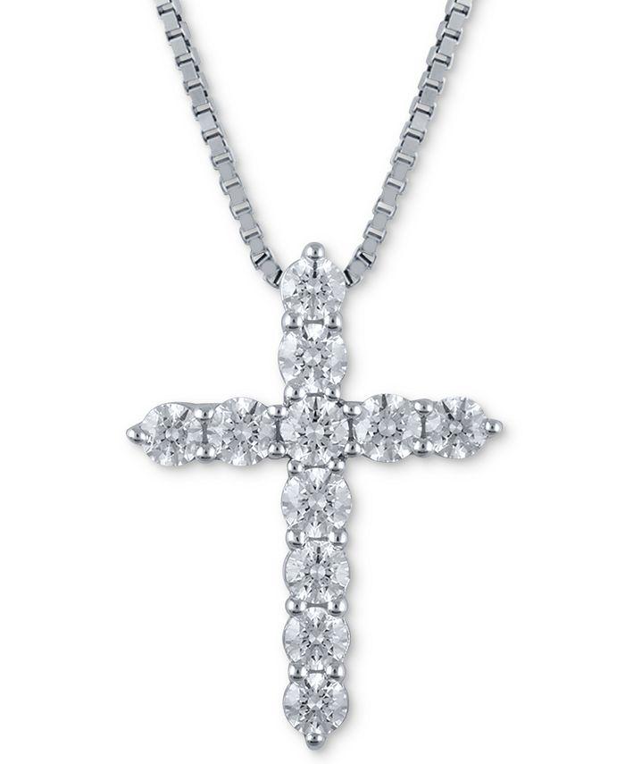 Macy's Star Signature Diamond - Certified Diamond (1-1/2 ct. t.w.) Cross Pendant Necklace in 14k White Gold