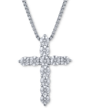 Macy's Star Signature Certified Diamond (1-1/2 ct. t.w.) Cross Pendant Necklace in 14k White Gold