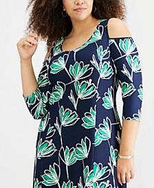 Petite Plus Size Cold-Shoulder High-Low Dress