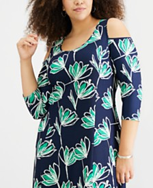 NY Collection Plus Size Cold-Shoulder High-Low Dress