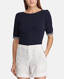 Lauren Ralph Lauren Ribbed Boat Neck Top