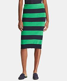 Lauren Ralph Lauren Striped Cotton Pencil Skirt
