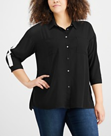 NY Collection Plus Size Racer-Stripe Shirt