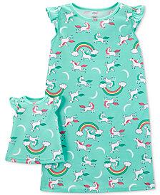 Carter's Little & Big Girls 2-Pc. Unicorn-Print Nightgown & Doll Nightgown