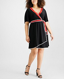 Petite Plus Size Flutter-Sleeve Wrap Dress