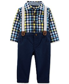 Carter's Baby Boys 3-Pc. Plaid Cotton Shirt, Pants & Suspenders Set