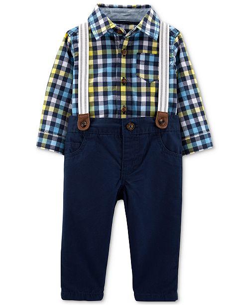 Carter's Baby Boys 3-Pc. Plaid Cotton Shirt, Pants & Suspenders Set