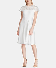 Lauren Ralph Lauren Belted Lace-Trim Dress