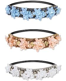 Deepa 3-Pc. Two-Tone Beaded Flower Ponytail Tie Set