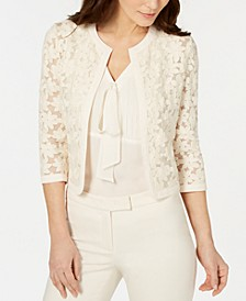 Broderie Cropped Lace Cardigan