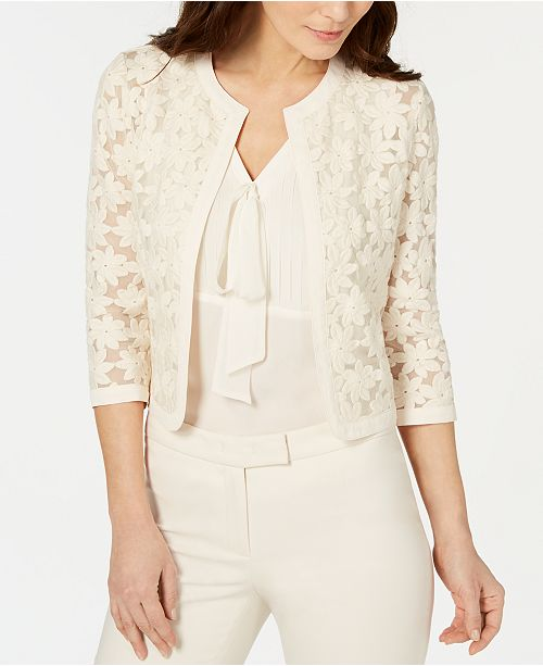 Anne Klein Broderie Cropped Lace Cardigan