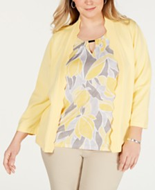 Alfred Dunner Plus Size Southampton Printed Layered-Look Sweater