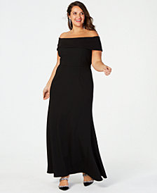 Betsy & Adam Plus Size Off-The-Shoulder Crepe Gown