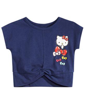 Little Girls Bow-Print Twist-Hem Cropped T-Shirt