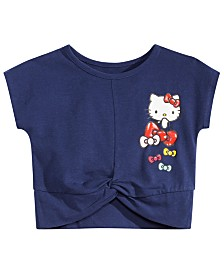 Hello Kitty Little Girls Bow-Print Twist-Hem Cropped T-Shirt