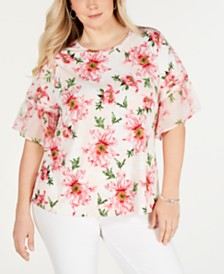 Charter Club Plus Size Ruffle-Sleeve Floral-Print Top, Created for Macy's