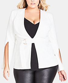 City Chic Trendy Plus Size Split-Sleeve Jacket