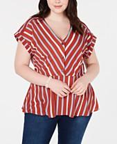 3a7b83bfe25f8 Monteau Trendy Plus Size Striped Peplum Top