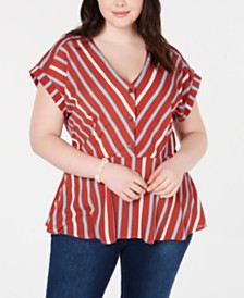 Monteau Trendy Plus Size Striped Peplum Top