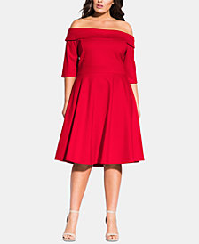 City Chic Trendy Plus Size Sun Kissed Off-The-Shoulder Dress